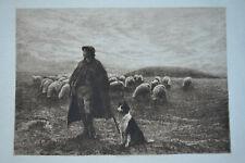 ON SALISBURY PLAIN SHEPHERD ORIGINAL ANTIQUE ETCHING EDGAR BARCLAY VIRTUE 1894