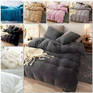 Teddy Bear Fleece Fitted Sheet OR Duvet Cover Set Sherpa Warm Bedding