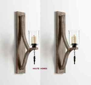 """NEW TUSCAN FRENCH ANTIQUE SCROLL 25""""H IRON WOOD Candle Holder Wall Sconce SET/2"""