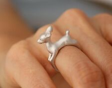 FREE GIFT BAG Silver Plated Bambi Reindeer Deer Friendship Adjustable Ring Xmas