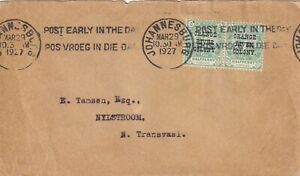 RRR3260 South Africa Johannesburg 1927 cover, Orange River Colony oprint stamp