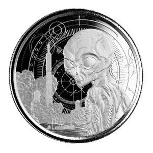 2021 Ghana Alien Proof-like .999 silver coin Scottsdale Mint- in capsule #905