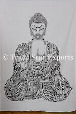 Indian Lord Buddha Tapestry Meditation Wall Hanging Ethnic Cotton Throw Decor