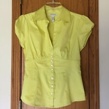 Banana Republic Button Down Top Fitted Cotton Spandex Yellow Short Sleeves Sz 6
