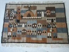 Egyptian Folk Art Rug/Tapestry/Wall Hanging.100% Wool. Hand made..Artist Signed