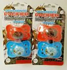 Orthodontic Pacifier BPA Free Orange  Blue 0-6 Months Real Tree Lot of 2