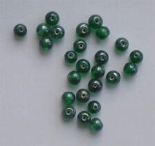 50: 6 mm round Lustered perles de verre, vert foncé, pour fabrication de bijoux etc