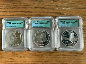 1994 Vietnam Memorial Commemorative, Women in Military and P.O.W Museum Coins