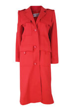 *CHRISTIAN DIOR* VINTAGE MILITARY STYLE LONG RED WOOL COAT (M)