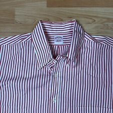 Vintage Brooks Brothers Red Stripes Short Sleeve Shirt Made in USA Size 17.5