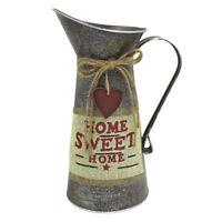 "10.8"" High Rustic Galvanized Watering Can Decorative Pitcher Vintage Vase Jug"