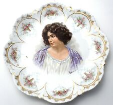 Antique Gibson Girl Plate Hand Painted Porcelain Cresent signed by E. Vettori