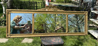 Vtg ORNATE 1920-30's BUFFET Triple Three Mirror Barbola Wood Gold Frame