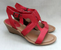 NEW CLARKS OUR STYLE WOMENS PINK LEATHER WEDGE SANDALS