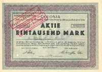 Colonia Kölnische Feuer- und Unfallversicherung Köln Aktie 1923 AXA Versicherung