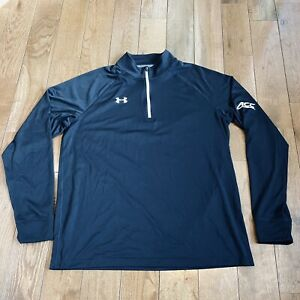 Mens Under Armour AllSeason Gear ACC 1/2 Zip Pullover Shirt Black White Loose L