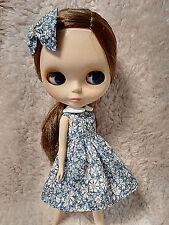 Blythe Doll Outfit Flower Print Blue Dress + Hair Bow Set