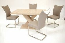 Tischgruppe Sitzgruppe ANDRE / SOLEA 5 Teilig, Tisch Eiche Sonoma sägerau Dekor,