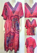 PLUS SIZE FLORAL PAISLEY KAFTAN MAXI DRESS PINK 16 18 20 22 24 26 28 30 32 34