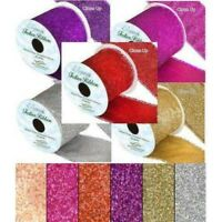 Sparkley Glitter Wired Ribbon Width 63mm  Red Rose Gold Silver Purple Fuchsia