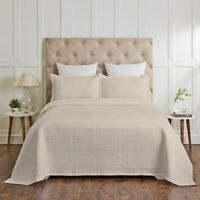Renee Taylor Madrid 100% Cotton Quilted Coverlet Set Beige