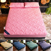 Quilted Mattress Cover Zipper Fitted Sheet Single Side Disassembly Winter Warm