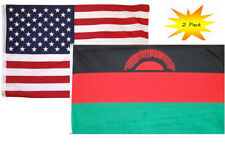 3x5 3'x5' Wholesale Set (2 Pack) USA American & Malawi Country Flag Banner