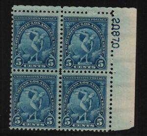 1932 Los Angeles Olympics Sc 719 MNH 5c blue rotary plate block of 4 CV $25