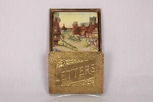 Shabby Chic Vintage Brass Wood Letter Wall Rack Holder Metalic Pretty Picture