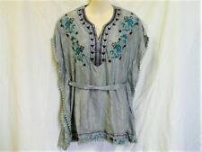 "BLUE / SILVER EMBROIDERED KAFTAN TOP S. 10 to 12 AUZ  ""NWT"" RRP $45 .C15"