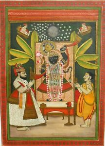 Vintage Old Miniature Lord Shri Nath ji Water Color Hand Painting Lord Krishna