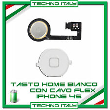 TASTO HOME BUTTON COMPLETO FLAT FLEX PER  IPHONE 4S BOTTONE BIANCO WHITE