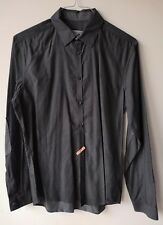DRYKORN SHIRT Small Pit to pit 21 in grey collared long sleeve 100% cotton