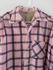CALIFORNIA STYLE vintage pink plaid Sanforized camp collar flannel shirt XL