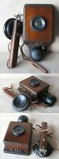 ANTIQUE WALL TELEPHONE PHONE / WOODEN BOX