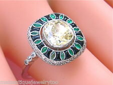 ART DECO 1.83ct  YELLOW CUSHION DIAMOND EMERALD ONYX COCKTAIL ENGAGEMENT RING