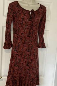 Biba Patterned Dress With Frill To Sleeves And Hem Size 8 Boho