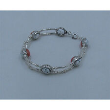 .925 Sterling Silver Natural White Turquoise Pink Coral Reversable Bracelet