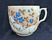 """Mustache Cup, """"A Present"""", Floral Design, 12 oz, Vintage"""