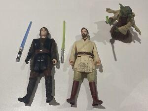 Star Wars Anakin, Obi-Wan & Yoda Figures w/Lightsabers