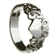 Sterling Silver Men's Trinity Knot Claddagh Ring 10.2mm
