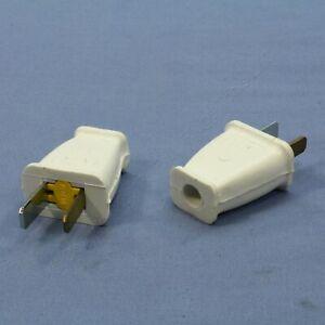 2 New Cooper White Straight Blade Male Plug 15A 125V Polarized 1-15P Bulk SA540W