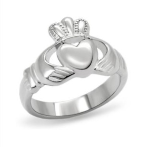 Silver Stainless Steel Claddagh Ring Celtic Irish Sizes 7 8