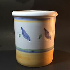 Williams-Sonoma Tournesol Utensil Holder Crock yellow blue green hand painted