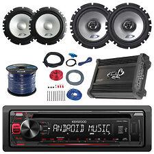 "Alpine 6.5"" Speaker System/Wire, Kenwood USB CD Car Radio, Amplifier/Install Kit"