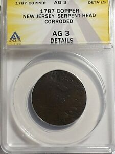1787 Copper New Jersey Serpent Head ANACS Certified AG3  Details Corroded