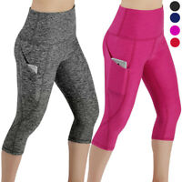 Womens Yoga Workout Gym Cropped Pants Legging Fitness 3/4 Capri Stretch Trousers