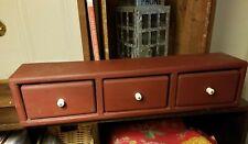 "Shelf w/3 Drawers Primitive Rustic Red Wood ~ Handmade Storage 25"""