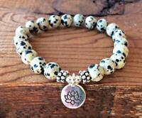8mm Spotted stone Bracelet mala cuff Spirituality Bless Stretchy Sutra