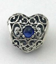 PANDORA 791784ssa September Signature Heart Synthetic Sapphire Charm